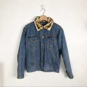 Big Dogs jean jacket with faux fur collar